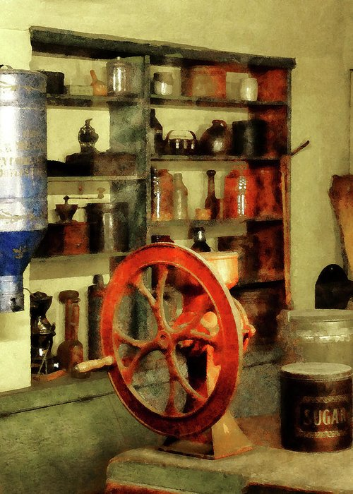 Coffee Grinder Greeting Card featuring the photograph Coffee Grinder And Canister Of Sugar by Susan Savad