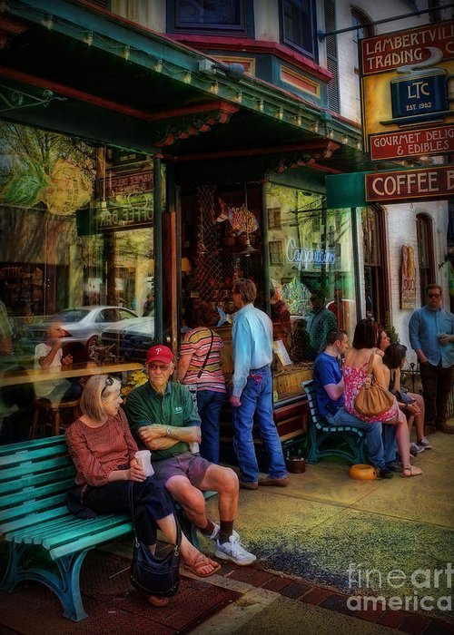 Storefront.store Front Greeting Card featuring the photograph Coffee Lovers by Lee Dos Santos