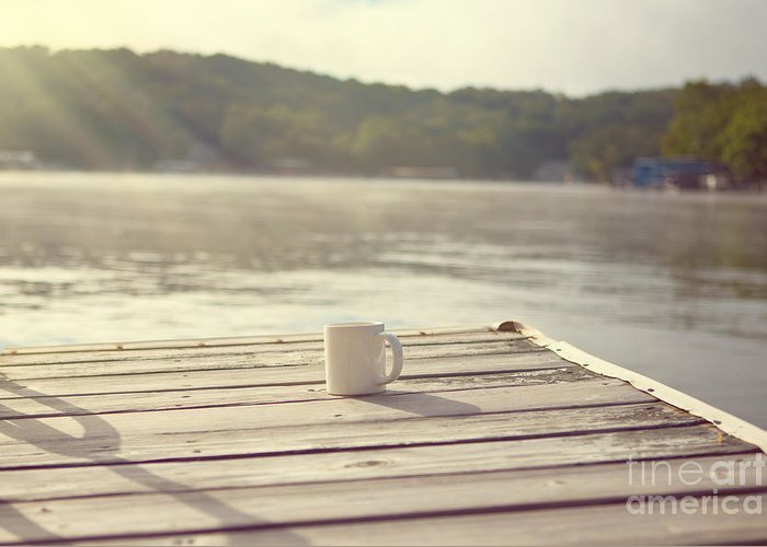 Lakehouse Greeting Card featuring the photograph Coffee On The Dock by Kay Pickens