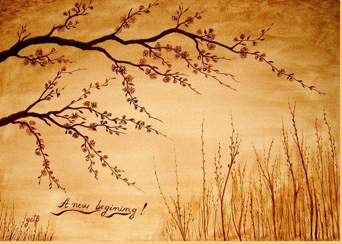 Coffeepainting Cherry Lowers Blossomimg Greeting Card featuring the painting Coffee Painting Cherry Blossoms by Georgeta Blanaru