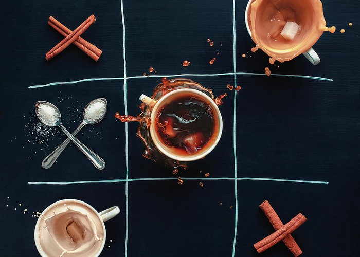Milk Greeting Card featuring the photograph Coffee Tic-tac-toe by Dina Belenko Photography