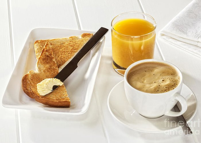 Coffee Greeting Card featuring the photograph Coffee Toast Orange Juice by Colin and Linda McKie