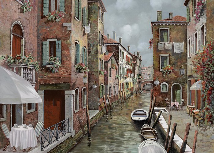 Venice Greeting Card featuring the painting colazione a Venezia by Guido Borelli