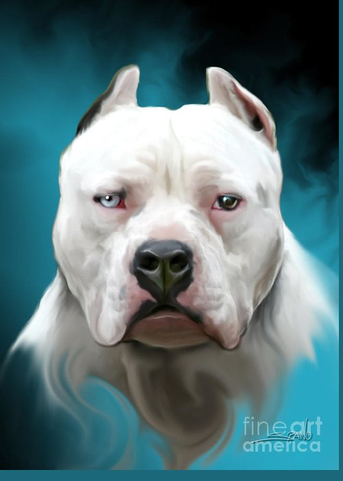 Spano Greeting Card featuring the painting Cold As Ice- Pit Bull By Spano by Michael Spano