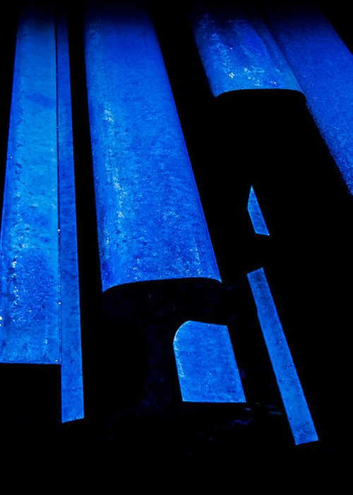 Abstracts Greeting Card featuring the photograph Cold Blue Steel by Steven Milner