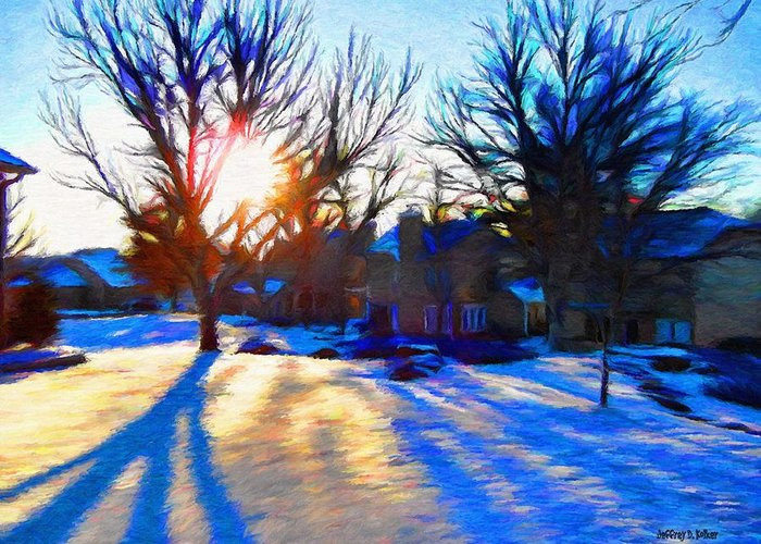 Cold Greeting Card featuring the painting Cold Morning Sun by Jeff Kolker