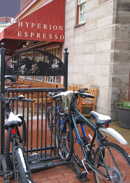Bicycles Greeting Card featuring the photograph Cold Seats Hot Treats by Penny Parrish