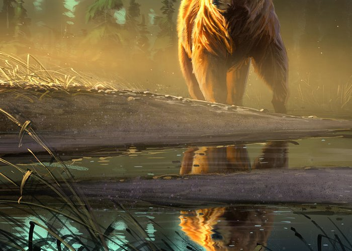 Bear Greeting Card featuring the digital art Cold Sunrise by Aaron Blaise
