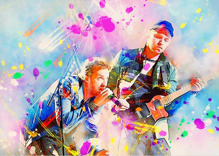 Coldplay Greeting Card featuring the painting Coldplay by Rosalina Atanasova