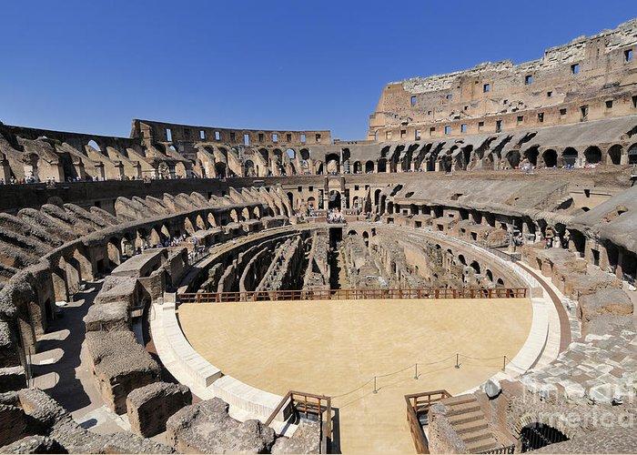 Built Structure Greeting Card featuring the photograph Coliseum . Rome by Bernard Jaubert
