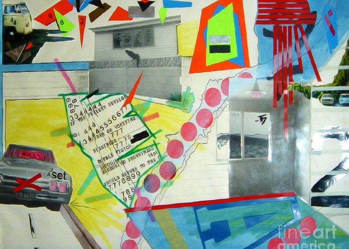 444 Greeting Card featuring the drawing Collage 444 by Bruce Stanfield