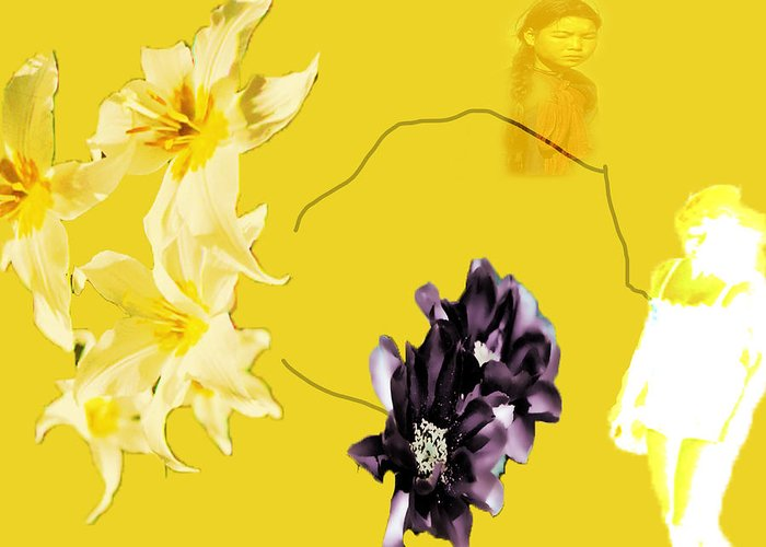 Greeting Card featuring the digital art Collage In Yellow by Cathy Anderson