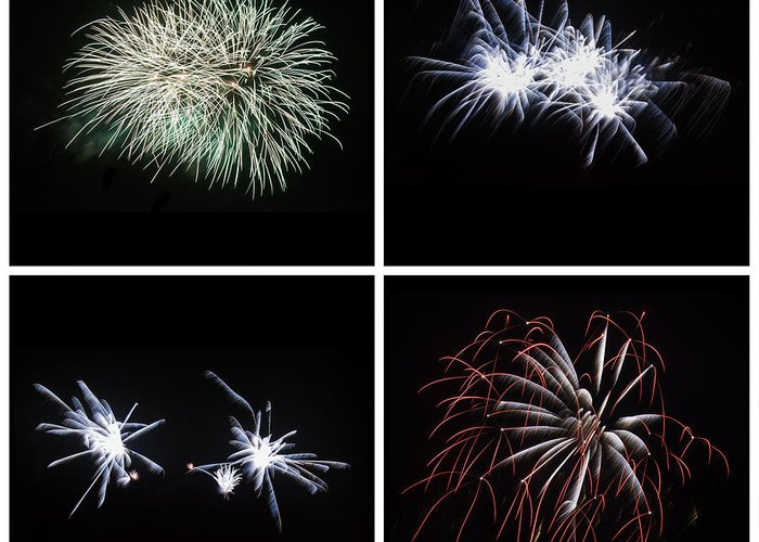 Night Greeting Card featuring the photograph Collection Of Bright Colorful Firework Burst Explosions On Black by Matthew Gibson