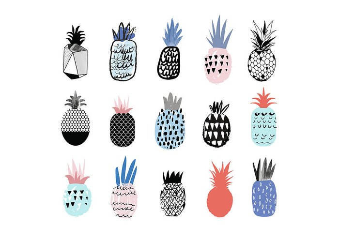 Art Greeting Card featuring the digital art Collection Of Cute Pineapples With by Loliputa