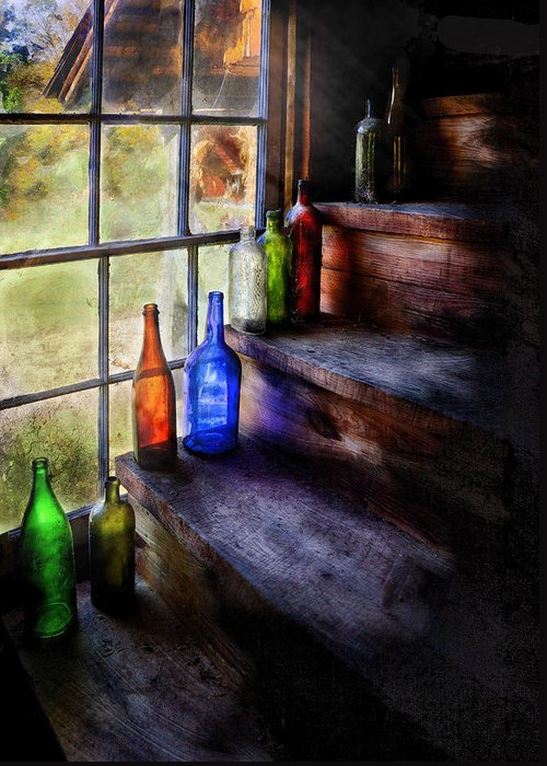Savad Greeting Card featuring the photograph Collector - Bottle - A Collection Of Bottles by Mike Savad