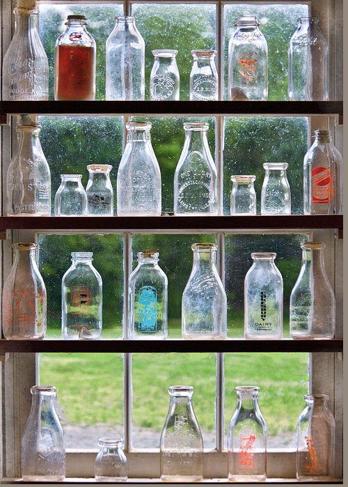 Milk Greeting Card featuring the photograph Collector - Bottles - Milk Bottles by Mike Savad
