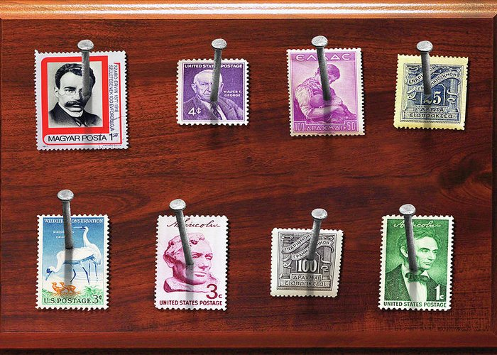 Savad Greeting Card featuring the photograph Collector - Stamp Collector - My Stamp Collection by Mike Savad