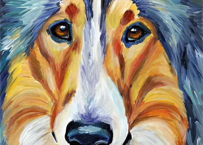 Collie Greeting Card featuring the painting Collie by Melissa Smith