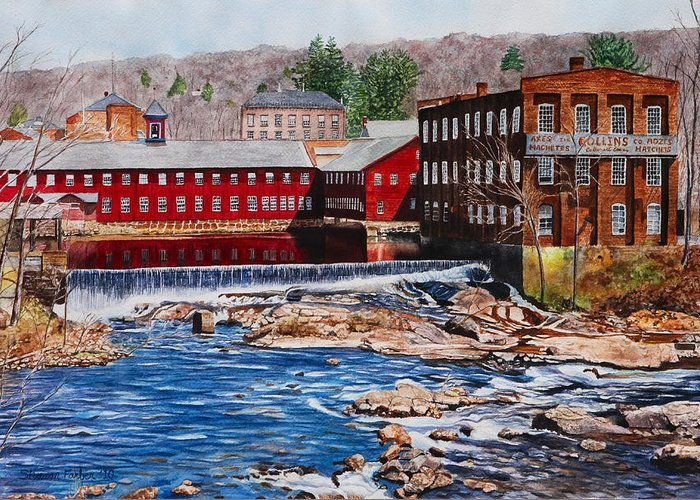 Landscape Greeting Card featuring the painting Collinsville Axe Factory by Sharon Farber