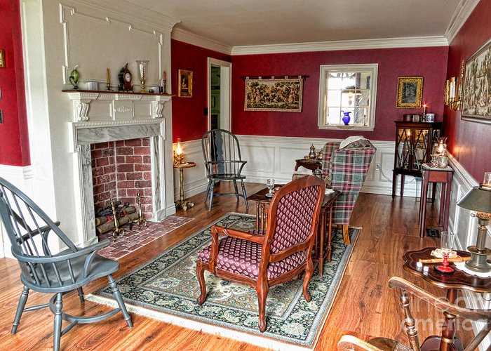 Colonial Greeting Card featuring the photograph Colonial Parlor by Olivier Le Queinec