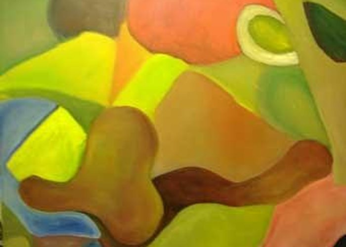 Abstract Piece Greeting Card featuring the painting Color And Shapes by Temeisha