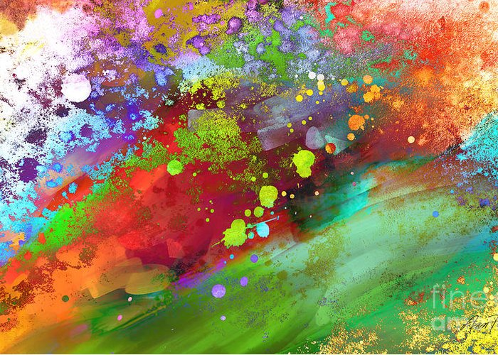 Abstract Greeting Card featuring the painting Color Explosion Abstract Art by Ann Powell