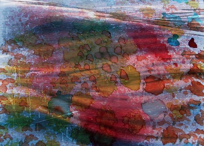 Abstract In Oil Greeting Card featuring the painting Color In Motion by Linda Gonzalez