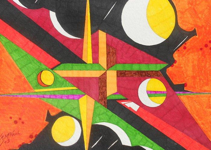 Abstract Greeting Card featuring the painting Color In Time by Willie McNeal