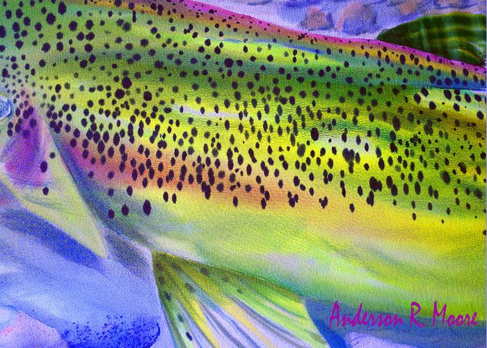 Color Me Trout Greeting Card featuring the digital art Color Me Trout by Anderson R Moore