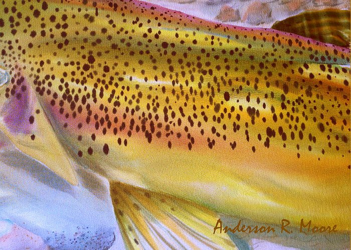 Color Me Trout Greeting Card featuring the mixed media Color Me Trout- Brown by Anderson R Moore