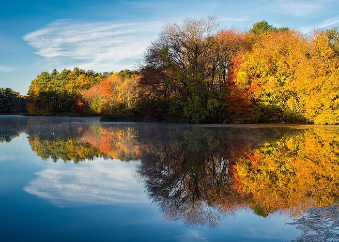 Grist Millpond Greeting Card featuring the photograph Color On Grist Mill Pond by Michael Blanchette