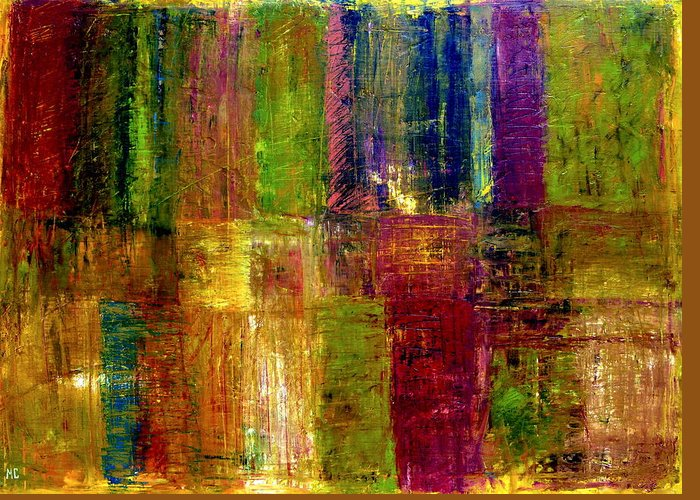 Abstract Greeting Card featuring the painting Color Panel Abstract by Michelle Calkins