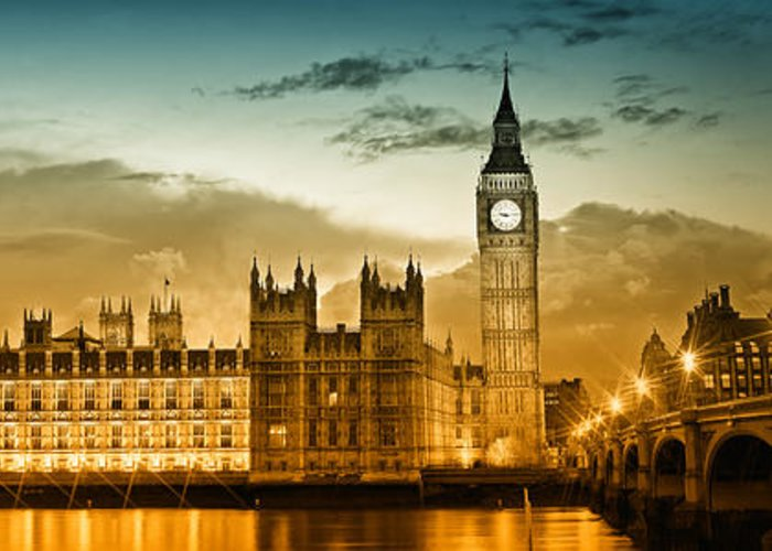 British Greeting Card featuring the photograph Color Study London Houses Of Parliament by Melanie Viola