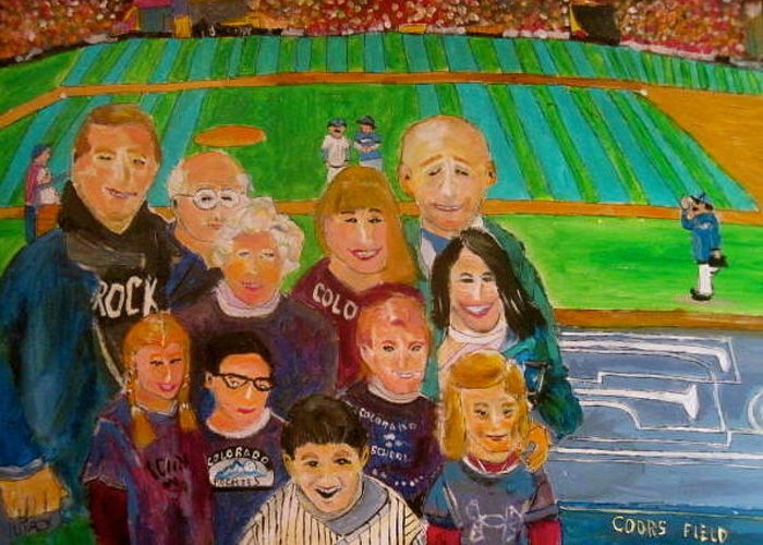 Baseball Greeting Card featuring the painting Colorado Baseball Family by Michael Litvack