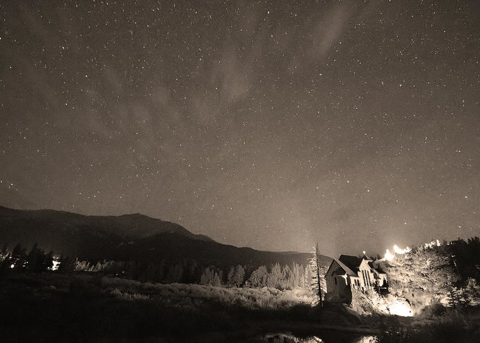Chapel On The Rock Greeting Card featuring the photograph Colorado Chapel On The Rock Dreamy Night Sepia Sky by James BO Insogna
