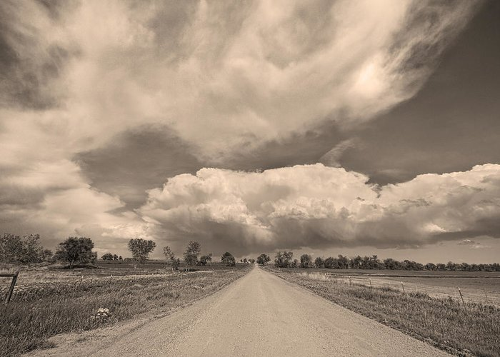 Road Greeting Card featuring the photograph Colorado Country Road Sepia Stormin Skies by James BO Insogna