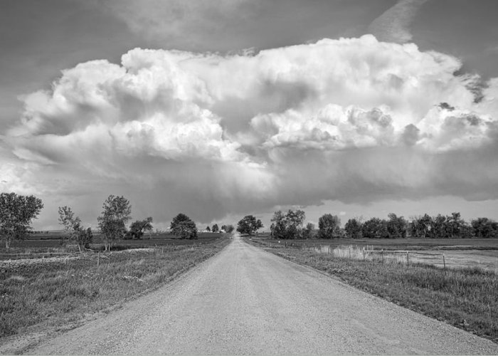 Road Greeting Card featuring the photograph Colorado Country Road Stormin Bw Skies by James BO Insogna