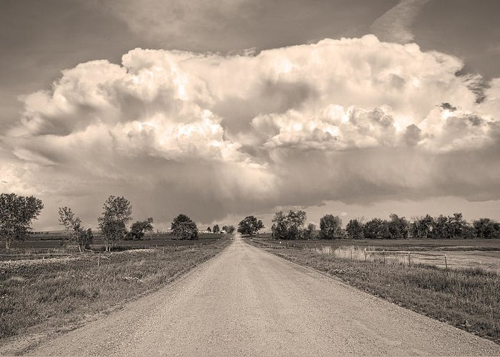 Road Greeting Card featuring the photograph Colorado Country Road Stormin Sepia Skies by James BO Insogna