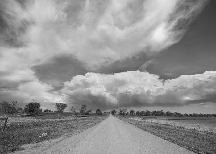 Road Greeting Card featuring the photograph Colorado Country Road Stormin Skies Bw by James BO Insogna
