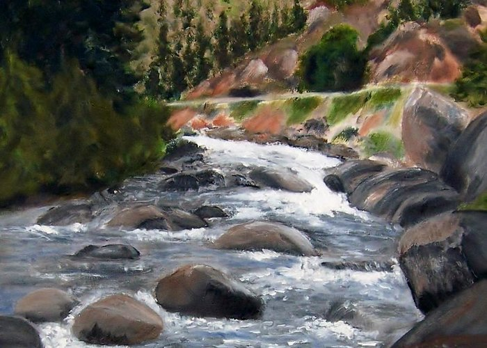 Water Greeting Card featuring the painting Colorado Rapids by Jamie Frier