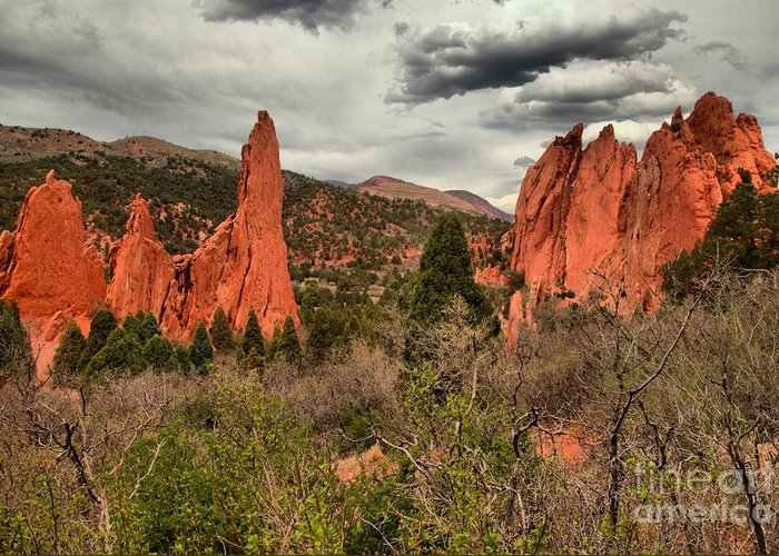 Garden Of The Gods Greeting Card featuring the photograph Colorado Red Rock Landcape by Adam Jewell