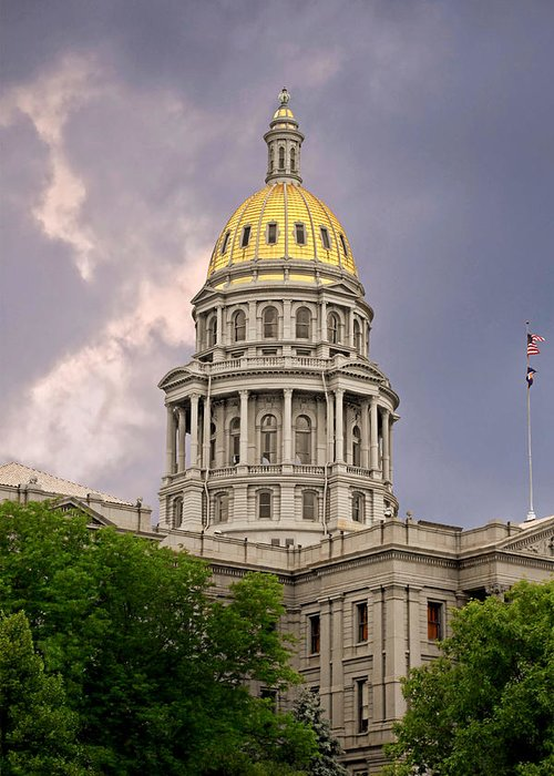 Colorado Greeting Card featuring the photograph Colorado State Capitol Building Denver Co by Christine Till