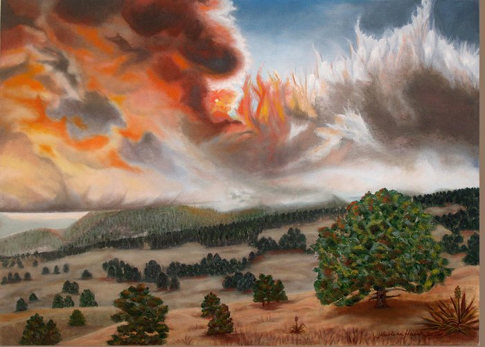 Nature Greeting Card featuring the painting Colorado Wildfire-fern Lake by Kristina Hauk