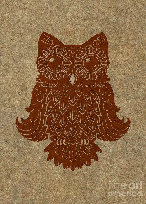 Owl Greeting Card featuring the painting Colored Owl 2 Of 4 by Kyle Wood