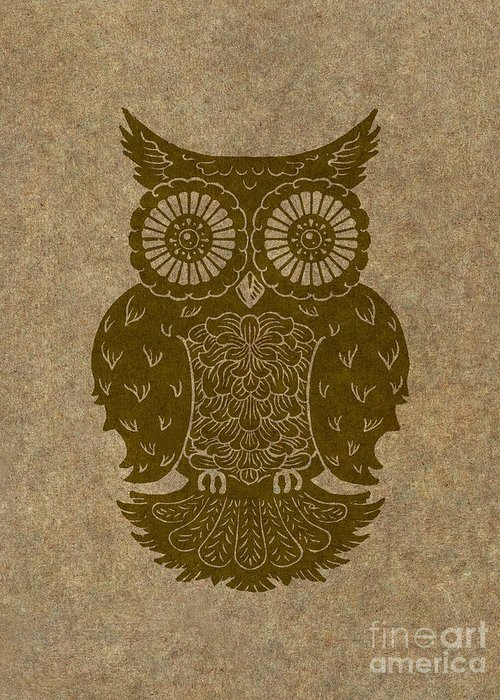 Owl Greeting Card featuring the painting Colored Owl 3 Of 4 by Kyle Wood