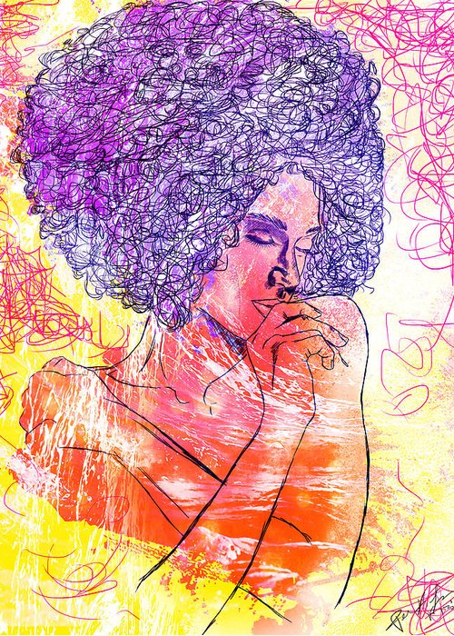 Colored Woman Greeting Card featuring the drawing Colored Woman by Kenal Louis