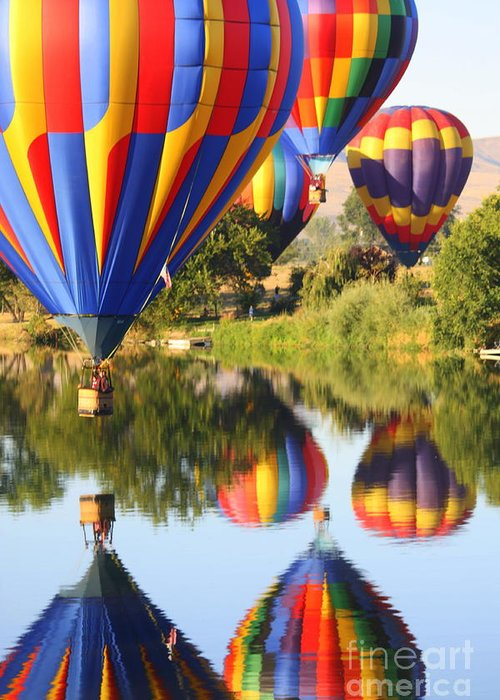 Hot Air Balloon Greeting Card featuring the photograph Colorful Balloons Fill The Frame by Carol Groenen