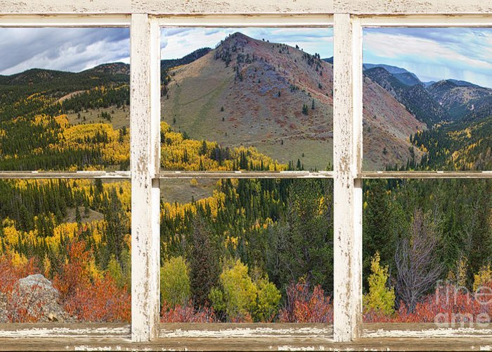 Autumn Greeting Card featuring the photograph Colorful Colorado Rustic Window View by James BO Insogna