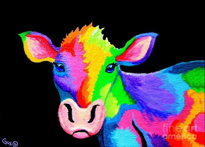 Cow Greeting Card featuring the painting Colorful Cow-cow-a-bunga by Nick Gustafson