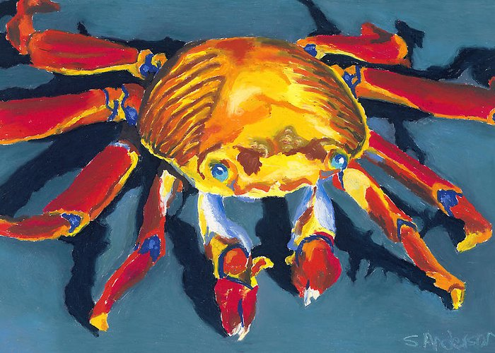Crab Greeting Card featuring the painting Colorful Crab by Stephen Anderson